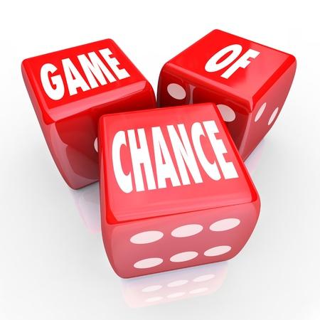 involving: Tre dadi rossi con il gioco di parole Chance sui loro volti, che simboleggiano il rischio e il pericolo di un gioco d'azzardo e delle scommesse soldi o il vostro futuro