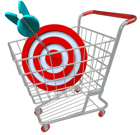 niche: A shopping cart with a red target symbol and an arrow in the bullseye, illustrating a direct hit in targeted marketing and aiming for a niche group of customers