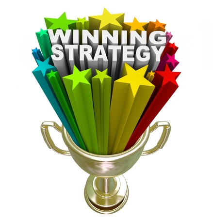 sports event: The words Winning Strategy bursting from a golden trophy surrounded by stars and fireworks to celebrate a good plan or management style that leads a team or group to victory