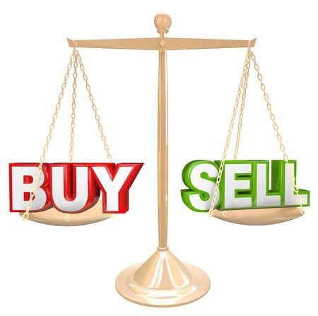 outweighing: The words Buy and Sell on a gold scale comparing the risks and benefits of timing your buying and selling of an item such as a house or financial investment