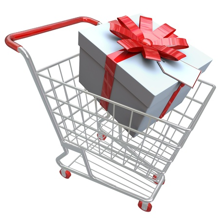 A present with ribbon and bow in a shopping cart Reklamní fotografie