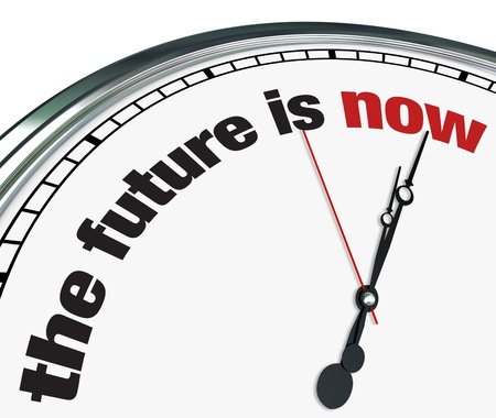 An ornate clock with the words The Future is Now on its face