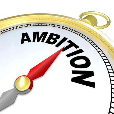 guiding: A compass with the word Ambition will lead you to success by helping you follow your initiative and  aspirations to meet your goal