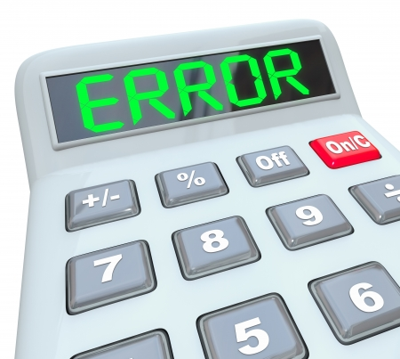A plastic calculator displays the word Error to represent wrong or inaccurate data or calculations with financial implications Stock Photo - 17944365