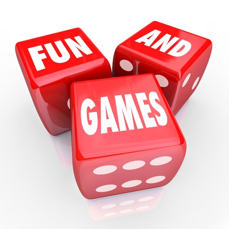 entertainment risk: Three red dice with the words Fun and Games on their faces, symbolizing the enjoyable attributes of parties and entertainment