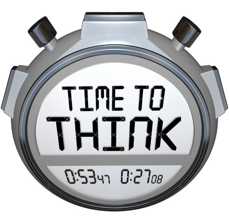 The words Time to Think on a stopwatch or timer in digital letters and words to symbolize the importance to brainstorm your plan or strategy to reach your goals and success photo