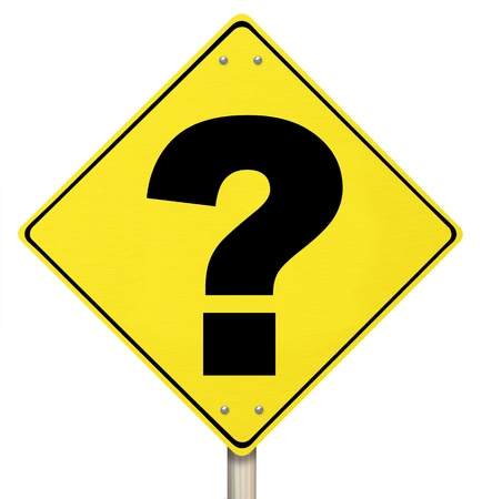 warns: A question mark on yellow diamond-shaped road sign Stock Photo