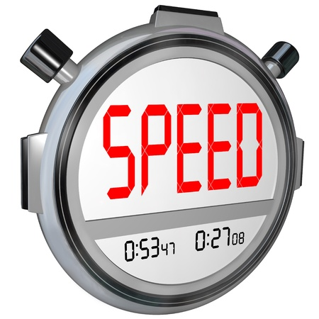 response: A stopwatch with the word Speed, illustrating fast response or a quick time result in a race or other sporting event, also symbolizing responsive customer service or other business support