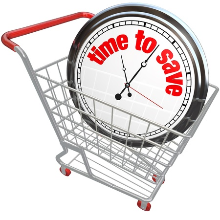 you are special: A white clock in a shopping cart with the words Time to Save advertising a special sale or discount clearance event on merchandise you want to buy