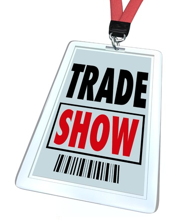 A badge and lanyard reading Trade Show for attendees to wear as a pass to get into a conference, convention or other large event Stock Photo