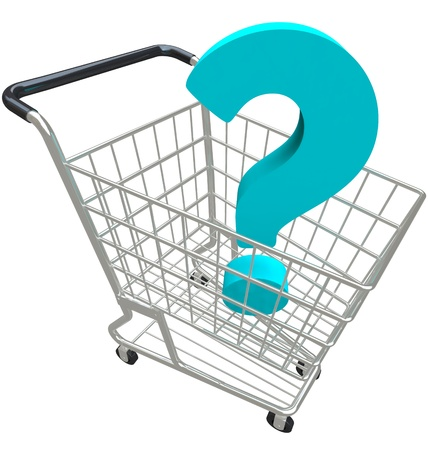 buying questions: A blue question mark in a shopping cart asking for help customer service and support in buying merchandise from a seller or store Stock Photo