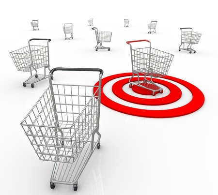 identify: A red bullseye targets one unique customer out of several consumers so a company or business can identify what the shoppers needs and interests are so they may sell to that person Stock Photo