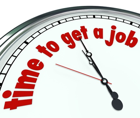 Time to Get a Job words on a clock counting down hours and minutes to finding work and employement to start your career with a professional opportunity Imagens