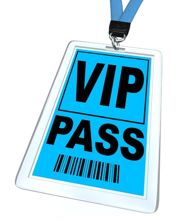 A blue badge and lanyard reading V.I.P. Pass Stock Photo
