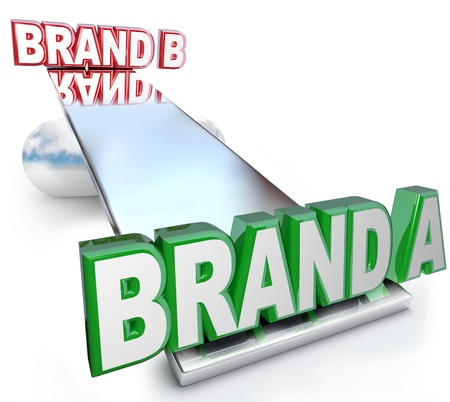 The words Brand A and Brand B on a see-saw scale or balance, weighing the benefits of two brands to determine which one has the best credibility, identity, trustworthiness, quality and loyalty photo