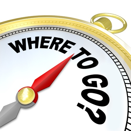 where to go: A compass with the words Where to Go giving you direction to get back on the path to success and achieving your goals