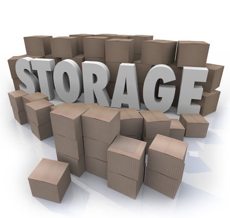 messy room: The word Storage in the middle of a stockpile of many piles of cardboard boxes to represent storing your old belongings and valuables in a locker, basement or other store room.