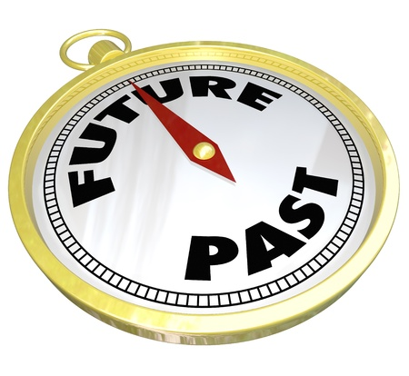 new direction: The words Future and Past on a compass to lead you to new opportunity and the way forward