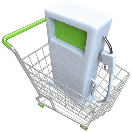 A gas pump in a metal shopping cart photo