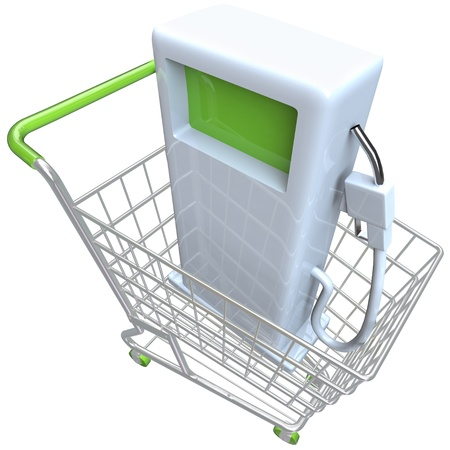 fillup: A gas pump in a metal shopping cart Stock Photo