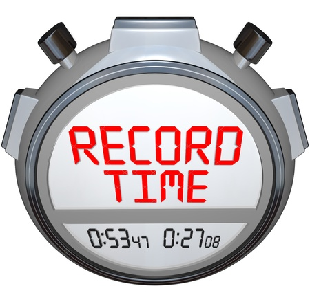 beat the competition: A stopwatch timer shows the words Record Time to illustrate that you have broken the previous record holder and have recorded teh best time ever