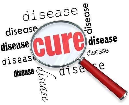 instances: Una lente di ingrandimento in bilico su diverse istanze della parola malattia al centro della quale � Cure
