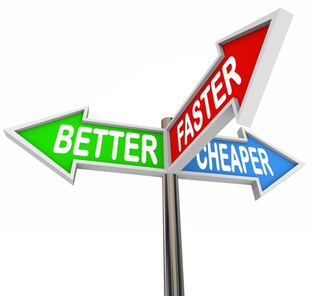 improving: The words Better, Faster and Cheaper on three street signs showing qualities or benefits for improving your products and increasing sales Stock Photo