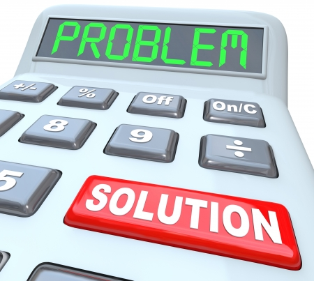 finance problems: Problem and Solution words on a plastic calculator representing the solved financial or math question using an educational tool or financial assistance Stock Photo