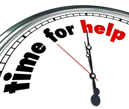 The words Time to Help on a white clock face to tell people it is time to give to a charity, volunteer to a worthy cause or come to the aid of others