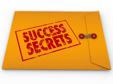 A yellow envelope with a red stamp with the words Success Secrets full of  information on succeeding or winning in life or business