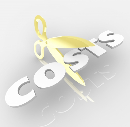 less: The word Costs being cut by a pair of gold scissors to symbolize cost cutting and saving money by reducing prices of expenses