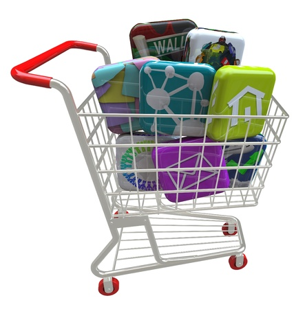 A number of app tiles representing mobile smart phone applications and software inside a metal shopping cart, symbolizing the purchase of apps for use on a modern telephone or tablet computer Stock Photo - 18083968