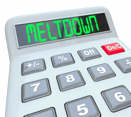 meltdown: A plastic calculator displays the word Meltdown to represent the danger and problems of financial debt and the global economic crisis that will impact your home budget