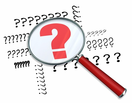 clues: A magnifying glass hovering over many question marks