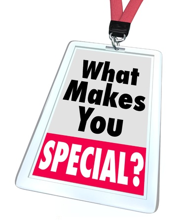 The words What Makes You Special on a badge, asking the question of what characteristics set you apart as an individual as different, unique, distinguished or better than the rest Stock Photo - 18083960