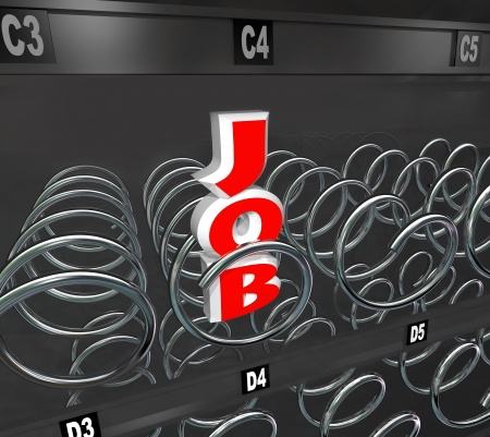 The word Job in an empty vending machine to symbolize a rough employment market and the difficulty of advancing a career when jobs are scarce Archivio Fotografico