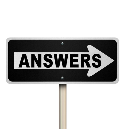 find answers: A road sign with the word Answers and an arrow pointing to the right, representing the location and directions of an answer to your burning and important question Stock Photo