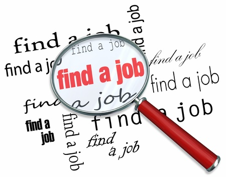 unemployed: A magnifying glass hovering over the words Find a Job
