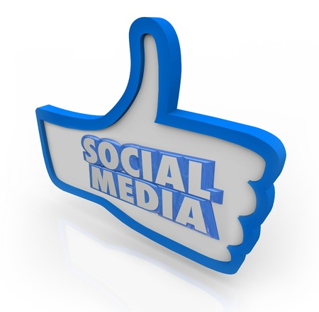 replying: The words Social Network on a blue thumbs up symbol to illustrate a group of colleagues or organized peer community with common interests and likes Stock Photo