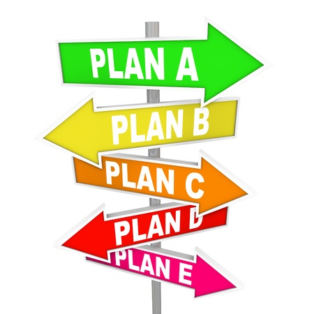 The words Plan A, B, C, D and E on colorful street or road signs pointing you to alertnate strategy options for success in business or life Archivio Fotografico