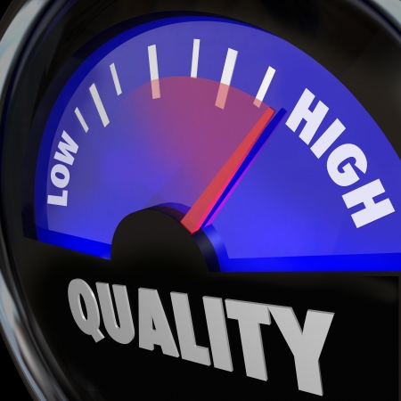 A fuel gauge with the word Quality to represent improving or increasing measurement of different attributes, as obtained through reviews, comments, feedback or other ratings from customers Stock Photo - 18205865