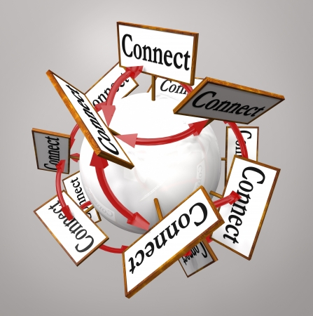advertiser: The word Connection on signs around a globe to symbolize networking and spreading information via word of mouth and communication