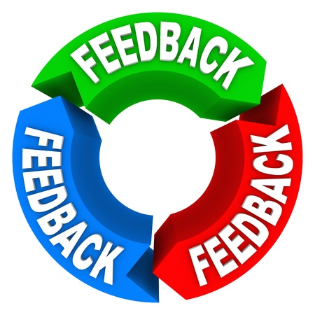 A feedback cycle showing arrows pointing to one another, collecting input, opinions, comments and reviews Stock Photo