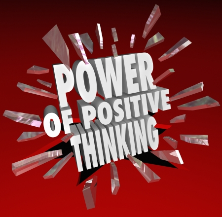 The words Power of Positive Thinking breaking through glass on a red background to symbolize reaching potential success and goals Stock Photo - 18342530