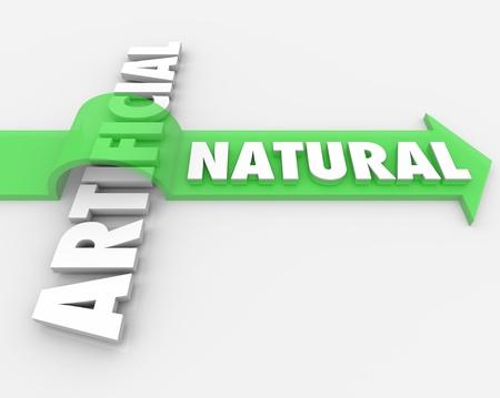 自然を飛び越え単語人工合成または不自然な成分対実質の選択の健康上の利点と利点を象徴する矢印の単語