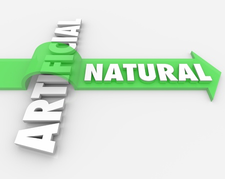 The word Natural jumping over the word Artificial on an arrow to symbolize the benefits and health advantages of choosing real versus synthetic or unnatural ingredients Stock Photo - 18398352