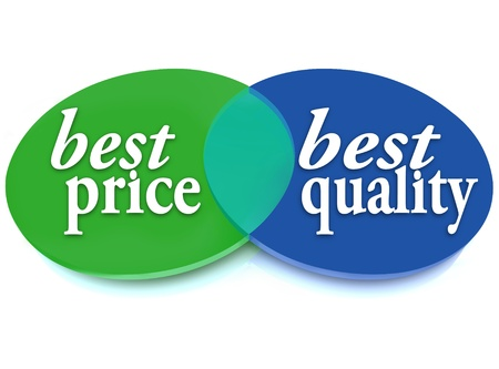 best quality: A Venn diagram of overlapping circles with the words Best Price and Best Quality to symbolize the best purchase choice that is better in cost and value