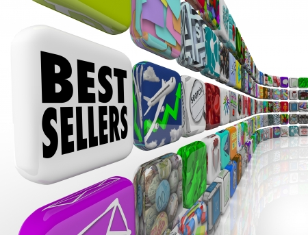 The words Best Sellers on an app tile in a wall of application icons for mobile software Stock Photo - 18507384