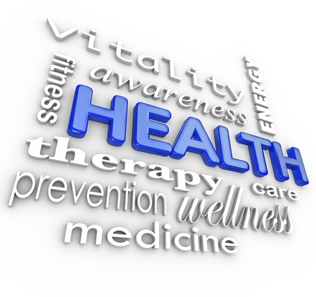 The word Health surrounded by a collage of words related to healthcare such as fitness, therapy, prevention, medicine, vitality, awareness, care and energy Stock Photo
