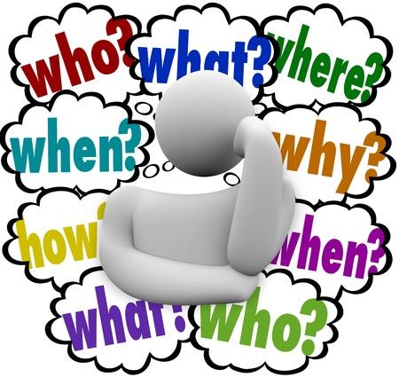 preocupacion: Una persona preocupándose profundamente en el pensamiento concentrado en las respuestas a las preguntas quién, qué, cuándo, dónde, por qué y cómo